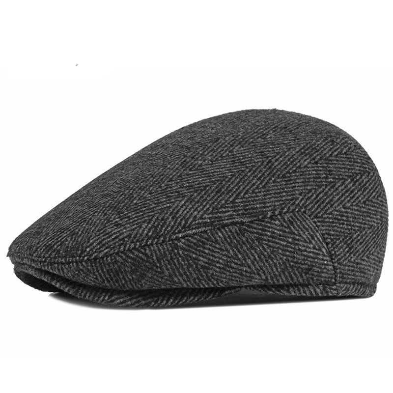 Fibonacci Autumn Winter Wool Nylon Men's Newsboy Caps Middle Aged Old Age Cabbie Ivy Striped Beret Dad Hats For Men Flat Caps