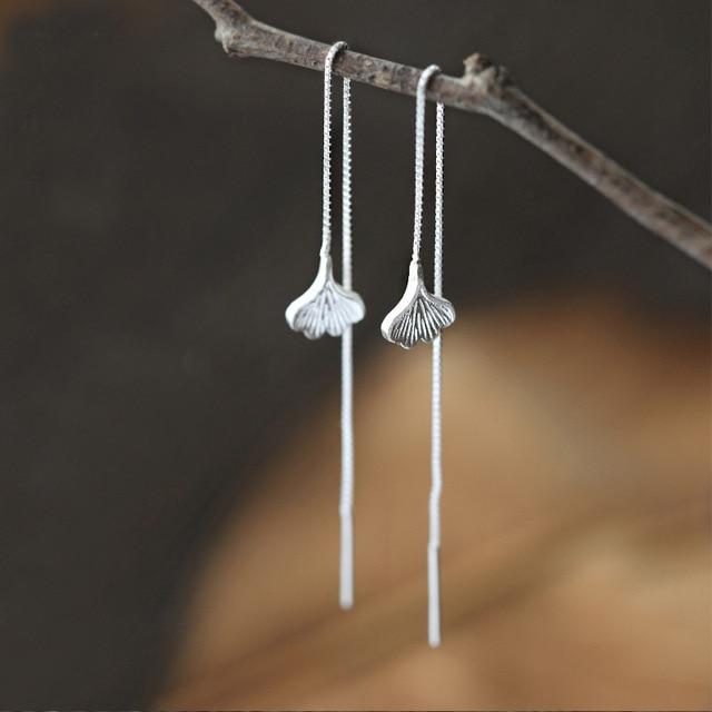 Ожерелья серебряного цвета кулоны в виде листьев гинкго ожерелье