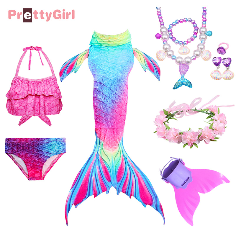 Kids Girls Mermaid Tail with Monofin Filppers Top Swimmable Swimwear fairy tail