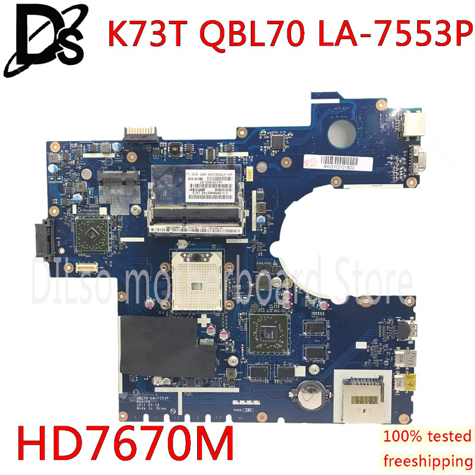 KEFU LA-7553P motherboard For ASUS K73T K73TK K73TA X73T K73 aptop motherboard with <font><b>HD</b></font> <font><b>7670M</b></font> ORIGINAL 100% work tested image