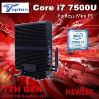 Topto Kaby Lake i7 7500U Fanless Mini PC Intel HD Graphics 620 Windows10 300M Wifi Architecture Desktop Computer 3 year warranty