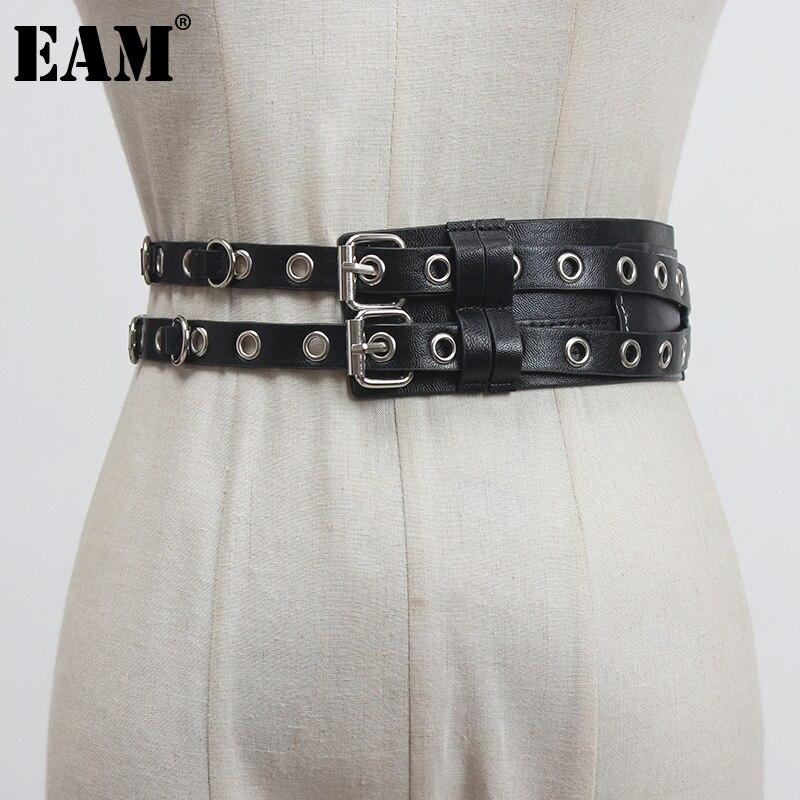 [EAM]  Pu Leather Black Irregular Split Buckle Long Wide Belt Personality Women New Fashion Tide All-match Spring 2021 1Z435