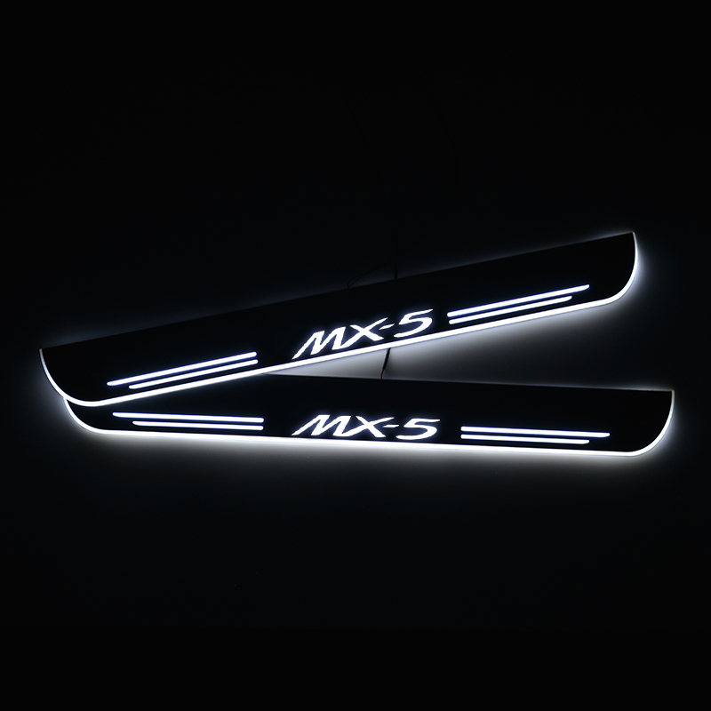 LED Door Sill for <font><b>Mazda</b></font> <font><b>MX</b></font>-<font><b>5</b></font> MX5 <font><b>RF</b></font> Targa ND 2015 to 2020 Door Scuff Plate Threshold Light Wire Connection-Powered Car Sticker image