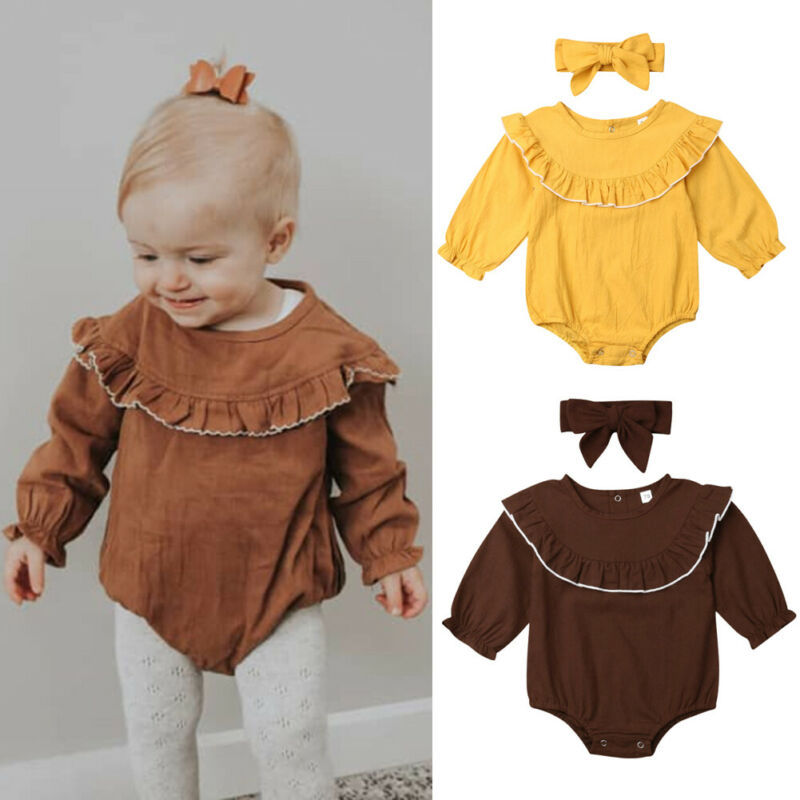 US Newborn Baby Girls Boys Summer Clothes Cotton/&linen Romper Bodysuit Outfits