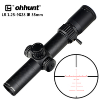 ohhunt LR 1.25 9X28 IR 35mm Tube Compact Hunting Riflescopes Glass Etched Reticle Red Illuminated Sight Turrets Lock Reset Scope