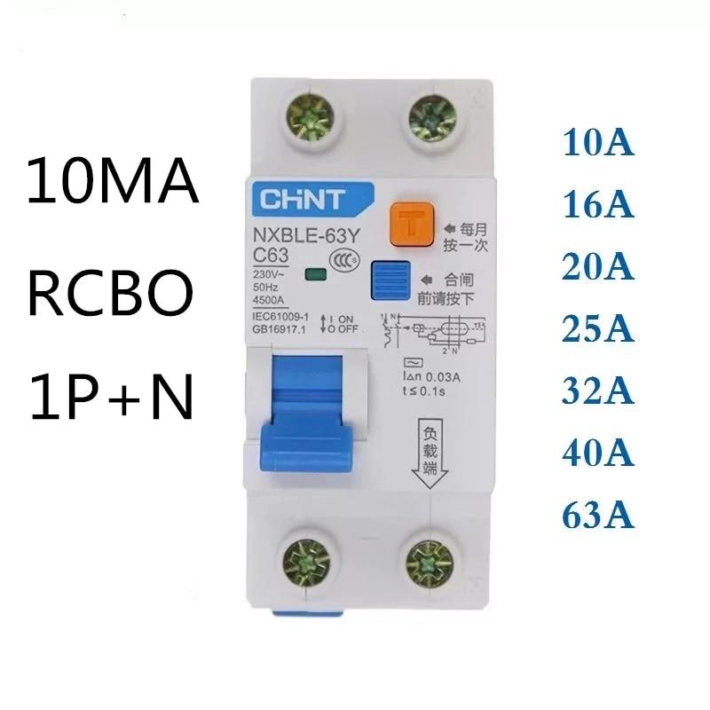 CHINT NXBLE-63Y 6A 10A 16A 32A 63A 10MA 0.01A RCBO 1P + N 230V interruptor de corriente Residual protecciуn contra fugas de corr