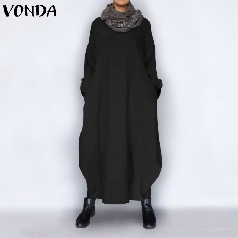 VONDA Autumn Dress 2019 Vintage Sexy Long Sleeve Party Maxi Long Dress Casual Loose Plus Size Vestidos Robe Femme