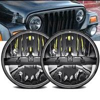 2pcs 7 Round LED Headlights High/Low Beam For Jeep Wrangler Unlimited LJ CJ JK TJ JKU 97 2017