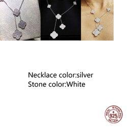 Ожерелье из стерлингового серебра 925 пробы, модный стиль 5, четырехлистный клевер, средний бриллиант, высокое качество, новое ювелирное изде...