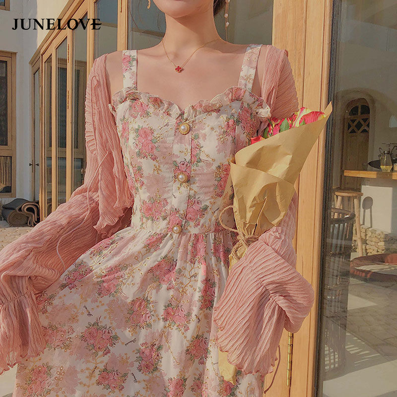 Cute Summer Print Floral Vintage Long Dress 1