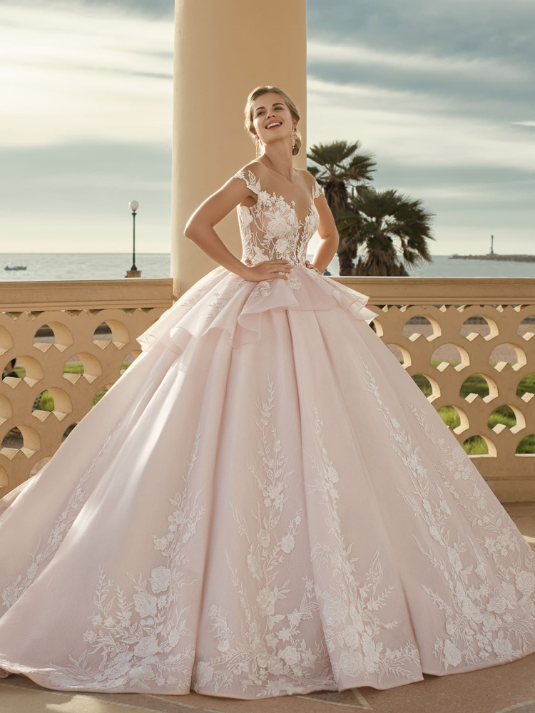 Loverxu Ball-Gown Wedding-Dresses Lace Appliques Illusion Princess Sleeve Cap Sashes