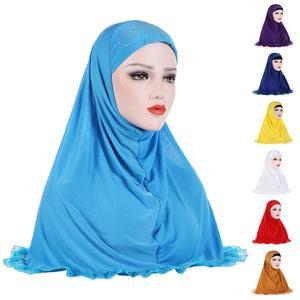 Мусульманский женский хиджаб стразы головной платок мусульманский шарф обертывающийся пуловер цельный Амира хиджаб молитвенная шапка ара...