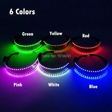 Nowy blask lampy LED okulary na imprezę kolorowe diody LED okulary przeciwsłoneczne Party światło jarzeniowe up okulary dla klub nocny DJ potańcówka dekoracja kostium