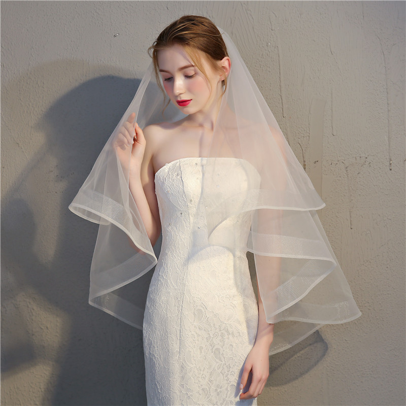 White Ivory Short Wedding Veils With Comb 2 Layer Veil Bridal Accessoires Mariage Wedding Vail For The Bride Veil Velo Sposa