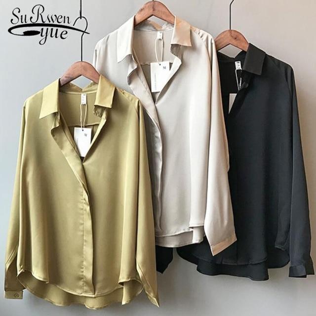 2021 Spring Women Fashion Long Sleeves Satin Blouse Vintage Femme V Neck Street Shirts Elegant Imitation Silk Blouse 5273 50 1