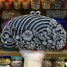 Fashion White Crystal Clutch Black Party Purse Luxury Handmade Ladies Dinner Purses And Handbags Fashion Female Shoulder Bags(China)
