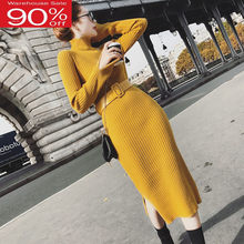 Women Sweater Graceful Temperament 2020 New Winter Slim Female Knit Dress Belt Korean style Yellow Black Hot Sale A77(China)