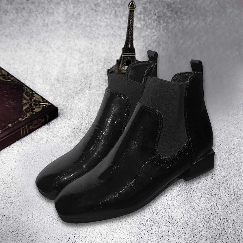 Kadın Kare Ayak Kalın Topuk Çizmeler Üzerinde Kayma Rahat Patent Deri Martin Ayakkabı Su Geçirmez Artı Boyutu 43 Kış Çizmeler Kadın patik