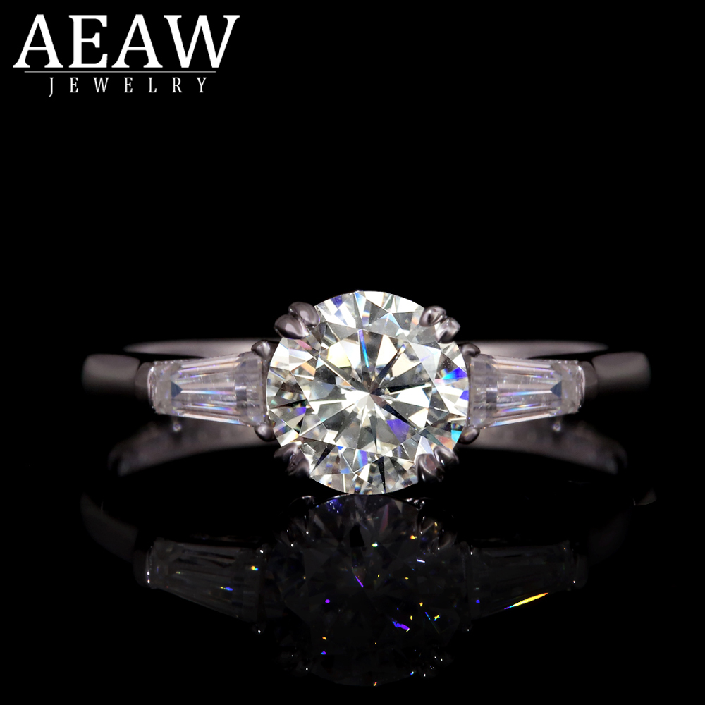 AEAW  Vintage Style Jewelry Four Double Claw Ring1.0ct  F Color Moissanite 14k White Gold  Women Wedding Rings