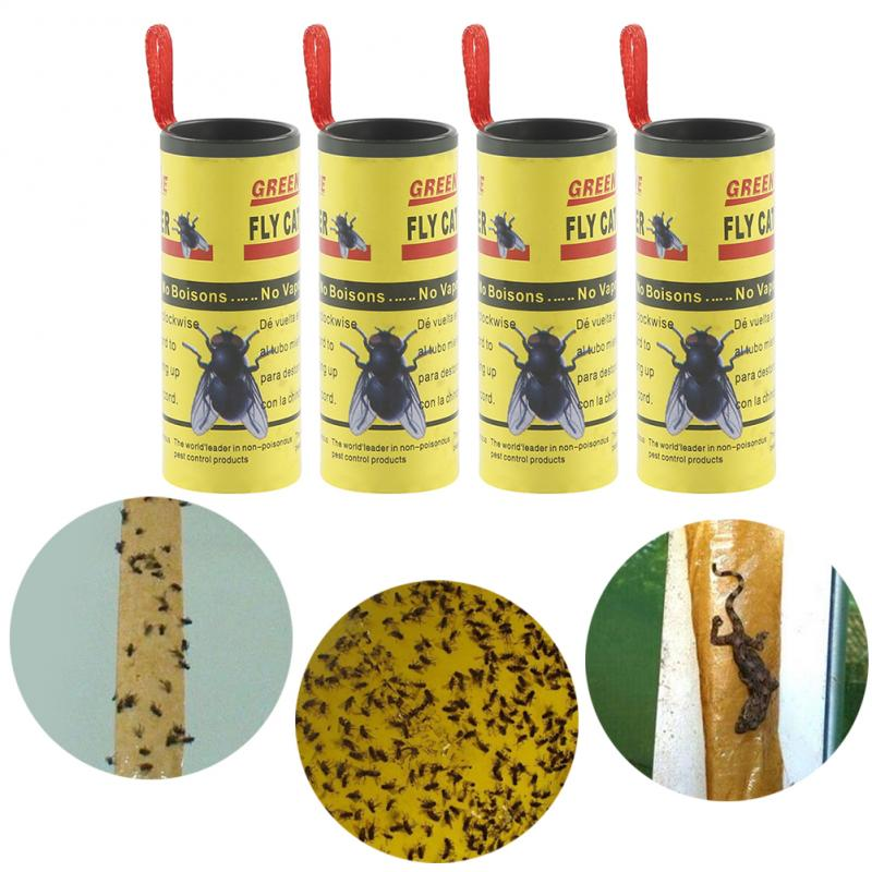 4 Rolls Sticky Fly Paper Eliminate Flies Insect Bug Home Garden Glue Paper Catcher Trap Fly Bug Mosquito Fly Killer Trap Device