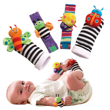 0-2T Baby 1 Set Plush Toy Wrist Rattle Colorful Bee with Foot Socks Cute for Gift