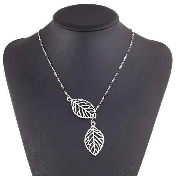 Fashion Wanita Perhiasan Ganda Daun Perak Daun Kalung dan Anting-Anting Gaya Hutan Wanita Lucu Anggun Indah Hadir Hadiah
