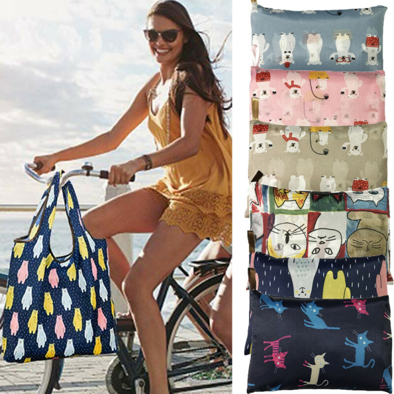 New 16 Colors Eco Shopping Bag Women's Foldaway Shopper Bag Ladies Reusable Shopping Bag Eco Tote Bag