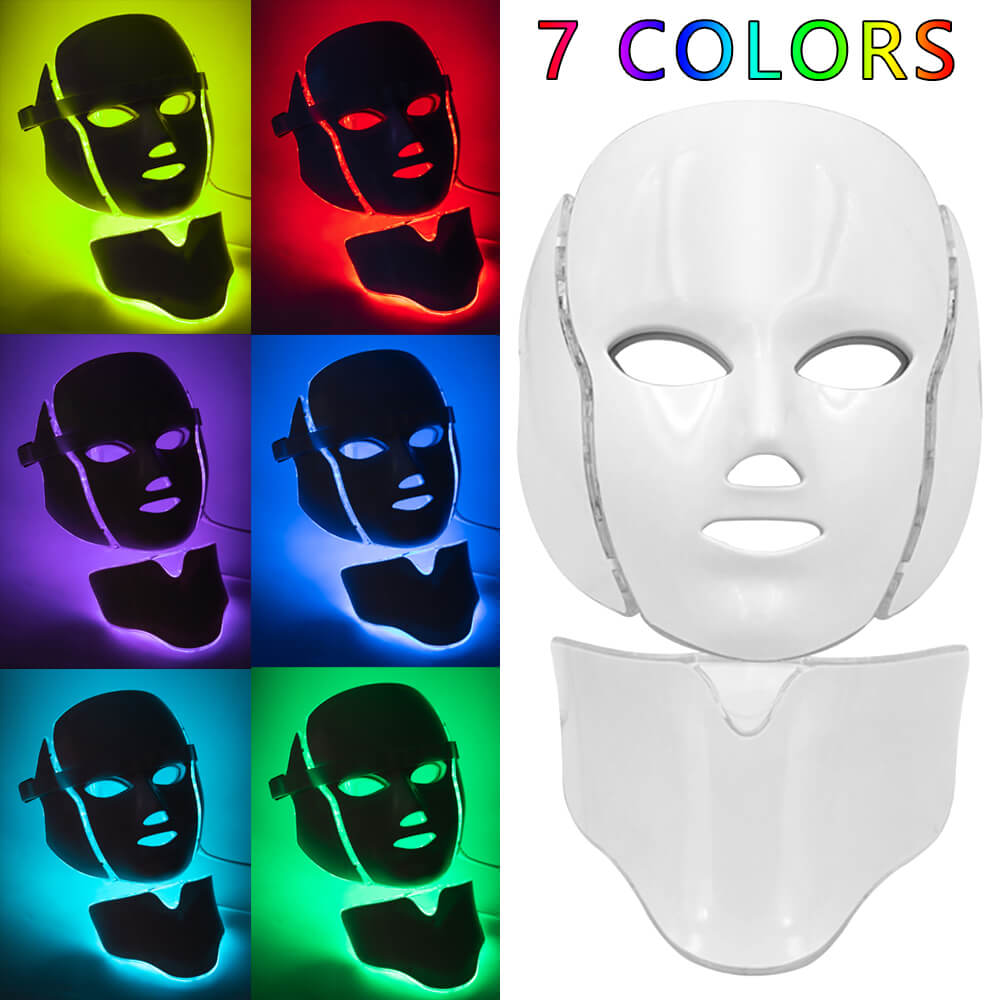LED Light Facial Mask With Neck Skin Rejuvenation Face Care Photon Treatment Beauty Anti Wrinkle Acne Therapy Eu Tighten Machine-in LED Mask from Beauty & Health