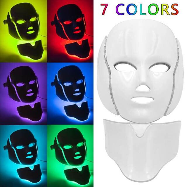 Mascarilla Facial con luz LED para rejuvenecimiento de la piel, tratamiento de fotones, antiarrugas, terapia de acné, máquina de estiramiento de la UE