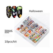 CHIVENIDO 10Pcs/Kit Halloween Nail Sticker  Christmas Decals for Art Decorations Stickers