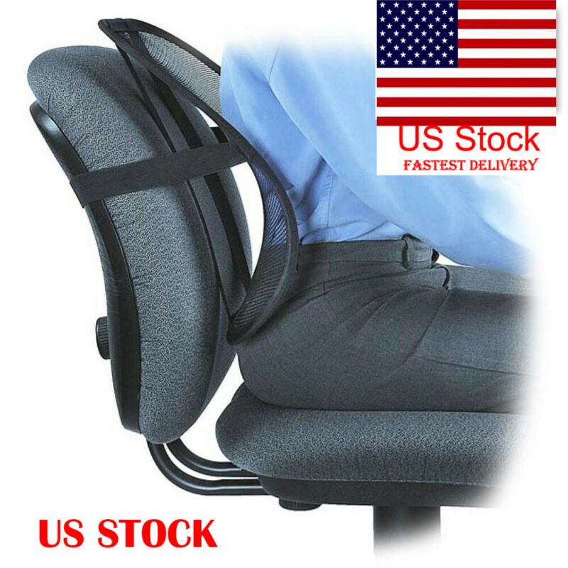 Faroot Lumbar Cool Mesh Back Support Spine Posture Correction Adjustable Back Pillow Car Cushion For Car Truck Seat Office Chair