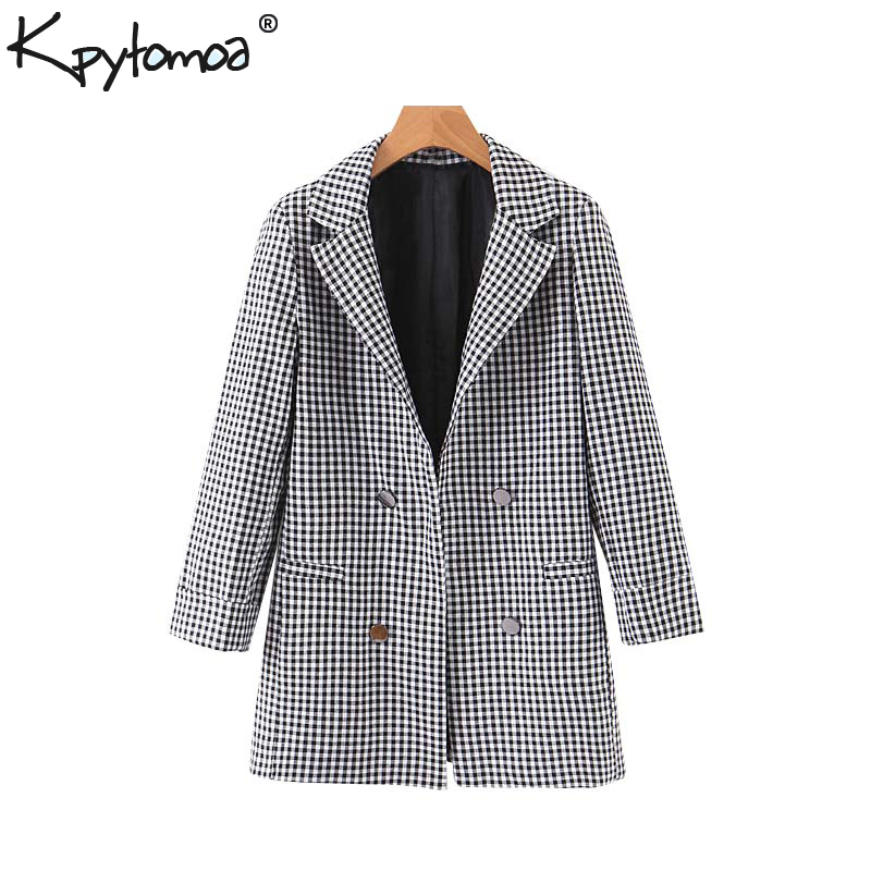Vintage Stylish Office Lady Plaid Open Stitch Blazer Coat Women 2020 Fashion Notched Collar Long Sleeve Outerwear Chic Tops
