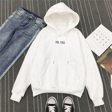 Осень зима флис Oh Yes письмо Harajuku пуловер с принтом толстые свободные женские толстовки Толстовка женская повседневная куртка NS4394