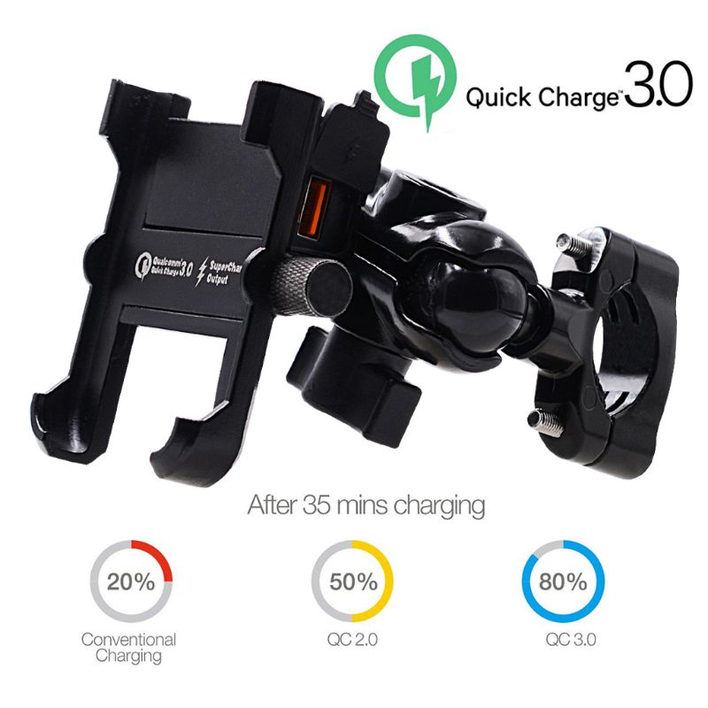 Image 3 - Waterproof Metal Motorcycle Smart Phone Mount with QC 3.0 USB Quick Charger Motorbike Mirror Handlebar Stand Holder for SamsungPhone Holders & Stands   -