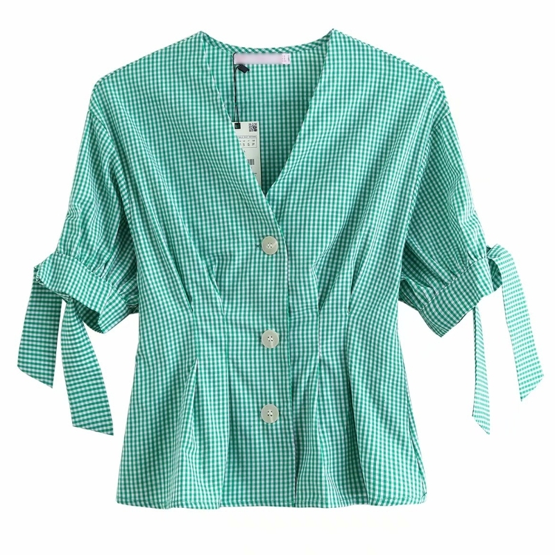 New 2020 Women Vintage V Neck Plaid Print Casual Smock Blouse Ladies Chic Bow Tied Sleeve Shirts Buttons Femininas Tops LS6533