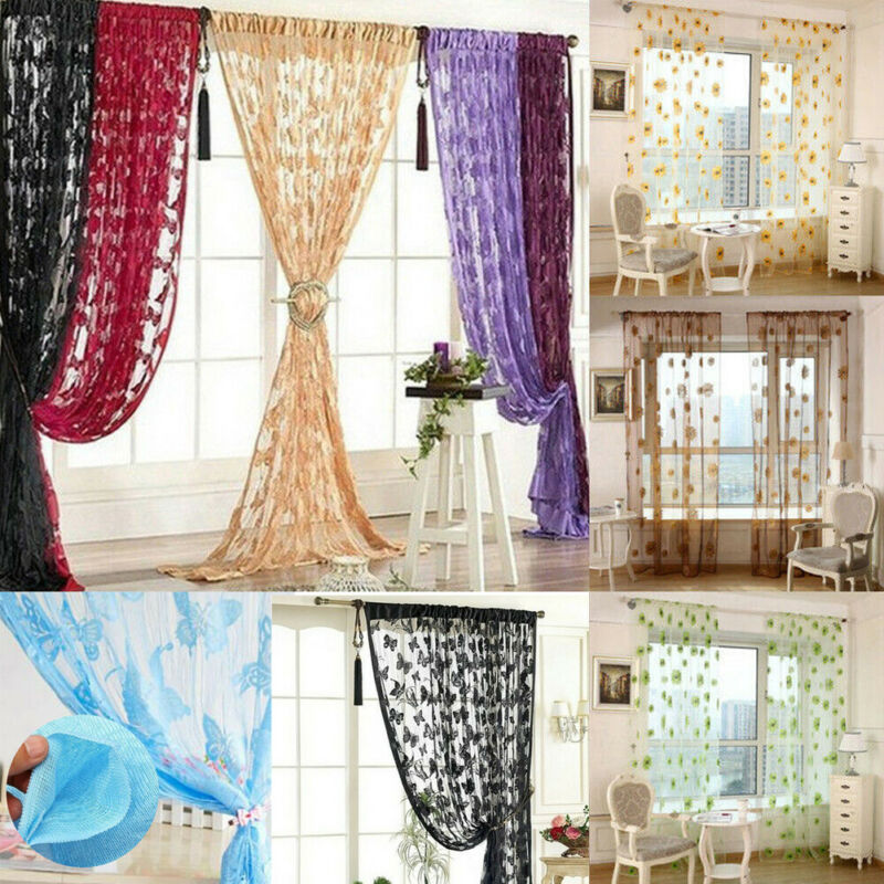 Butterfly design home decoration modern curtain tulle fabrics organza sheer panel window treatment Chiffon Divider curtains