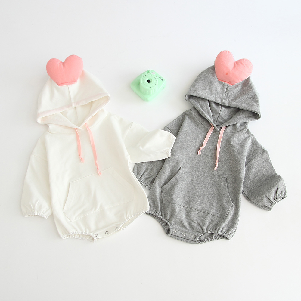 2020 New Autumn & Winter Babies Newborn Boys Clothing Love With Hooded Bodysuits Cotton Long Sleeve Pure Color  Jumpsuit Girls