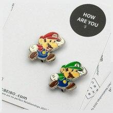 Аниме игра Супер Марио для косплея аксессуары сантехник Луиджи Марио Бро брошь металл милый гриб монета значок галстук шляпа пуговицы брошь