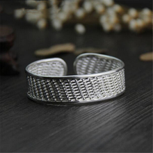 925 Sterling Silver Thai old silversmith Handmade Bracelet Simple Fashionable Wide-edged Open Ladys Accessories