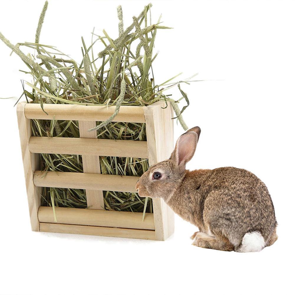 Rabbit Fodder Wooden Hay Feeder Manger Rack Stand Food Bowl Guinea Pig Pet Grass Holder