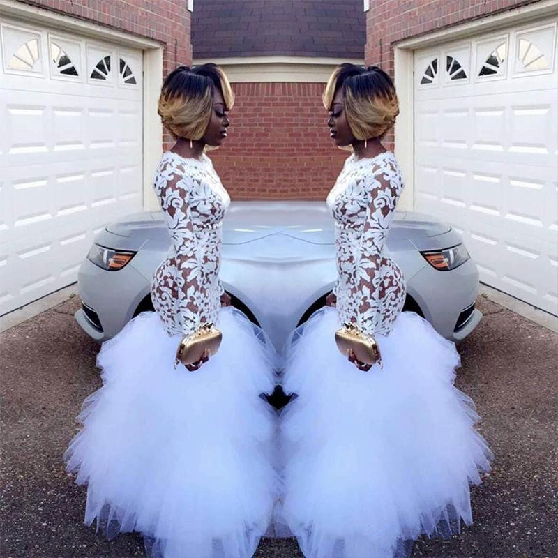 2019 African White Mermaid Lace Prom Dresses For Black Girls Long Sleeves Ruffles Tulle Floor Length Plus Size Evening Prom Gown