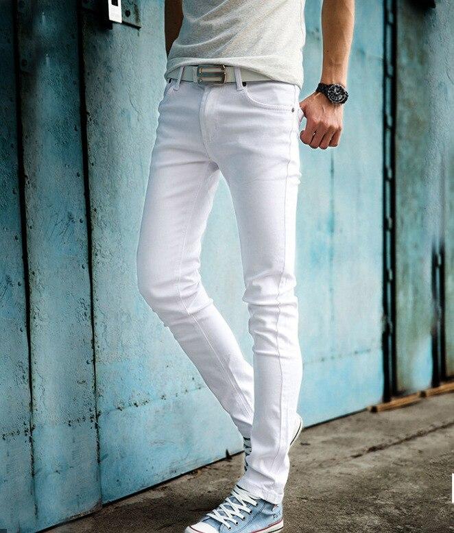 Spring And Summer Thin Korean-style MEN'S Jeans Men'S Wear Elasticity Solid Color White Skinny Pants Slim Fit Capri Pants Pencil