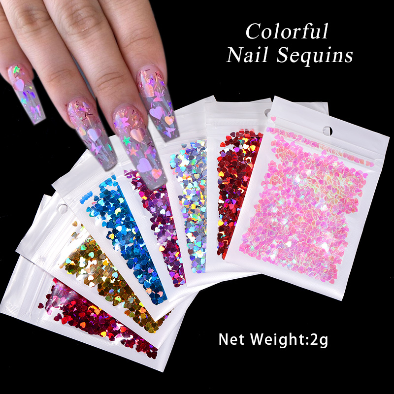 1 Bag Colorful Nail Sequin Flakes Holographics Glitter Love Heart Shape Nail Sequins Nail Art Decoration Flame Design