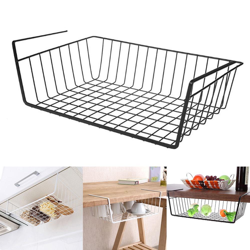 Hot Space Saving Metal Basket Storage Rack Under Cupboard Wardrobe Desk Multi Function Storage Basket Shelf Clothing Hanging Hol