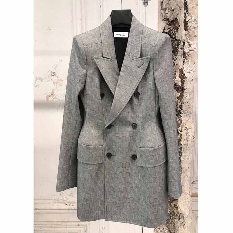 Cosmicchic Women's Woolen Suit Gray Plaid Double-Breasted Ladies Jackets Waist Hugging Office Business Autumn Winter Blazer