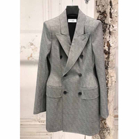 Cosmicchic Women's Woolen Suit Gray Plaid Double Breasted Ladies Jackets Waist Hugging Office Business Autumn Winter Blazer