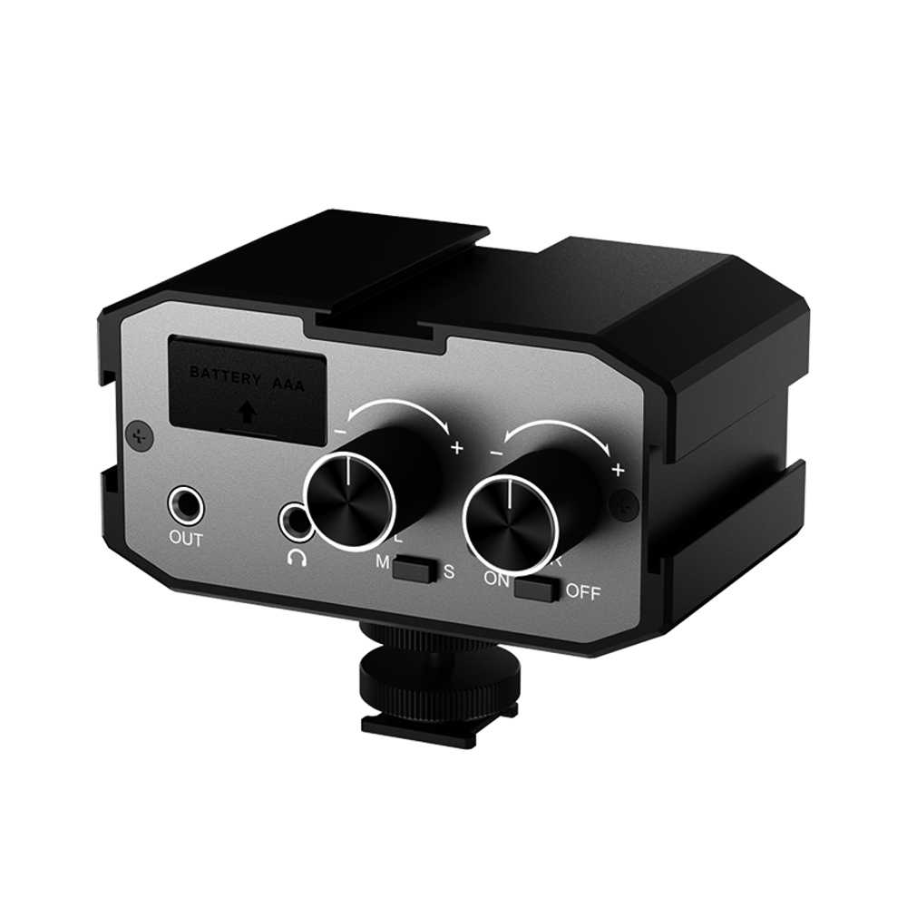 Comica CVM-AX1 Mono estéreo de mezclador de Audio adaptador de micrófono para DSLR Canon EOS T6 Nikon D3300 ual amplificador de canales Jack de 3,5 MM