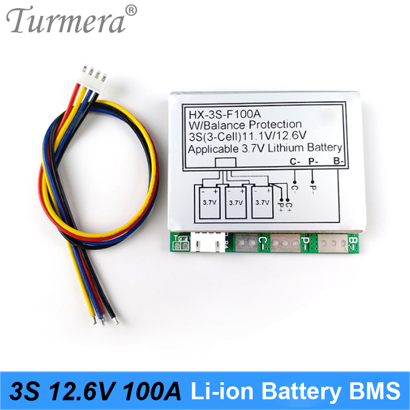 BMS 3S 100A Balancer PCM 18650 Lithium Battery Protection Board 3S BMS Li-ion Battery Balance 12.6V For Screwdriver Drill Motor