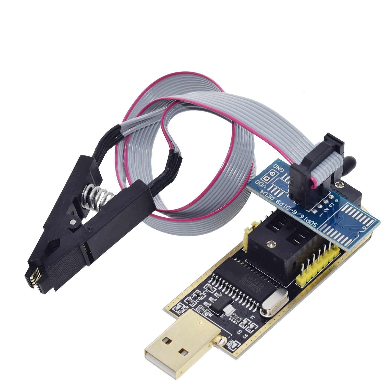 Image 2 - TZT CH341A 24 25 Series EEPROM Flash BIOS USB Programmer Module + SOIC8 SOP8 Test Clip For EEPROM 93CXX / 25CXX / 24CXX-in Integrated Circuits from Electronic Components & Supplies