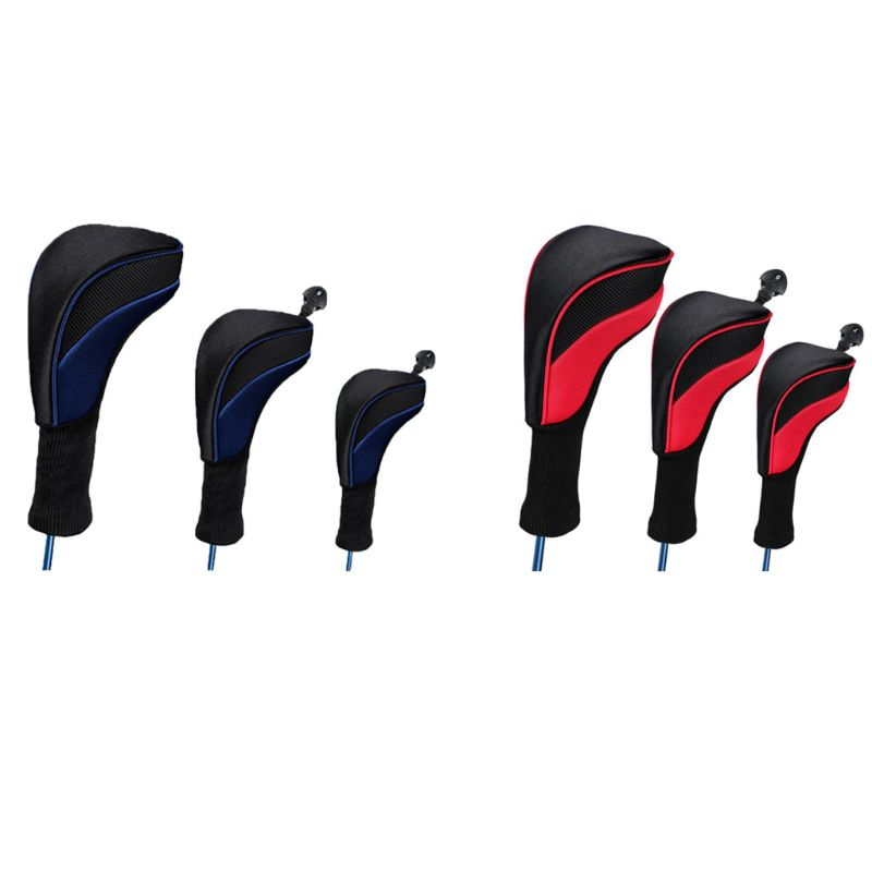 3 Pcs High Elastic Breathable Golf Club Head Covers Long Neck Interchangeable D0LB